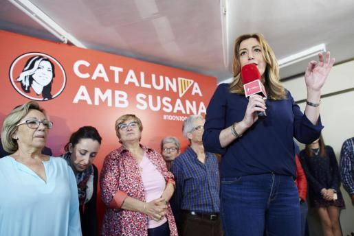 La candidata en las primarias para liderar el PSOE, Susana Díaz, en Cataluña.