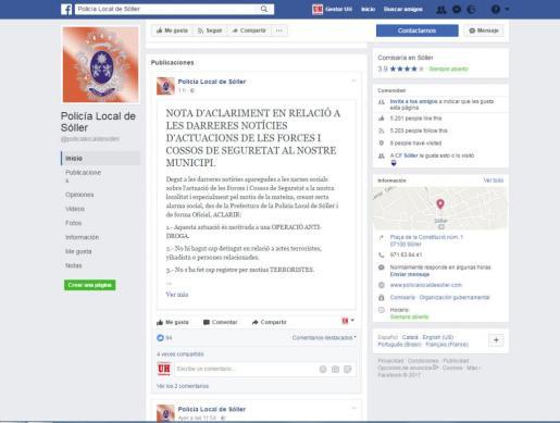 La Policía Local de Sóller ha desmentido este miércoles que la operación antidroga que se ha realizado en la localidad se tratase de una actuación antiterrorista.