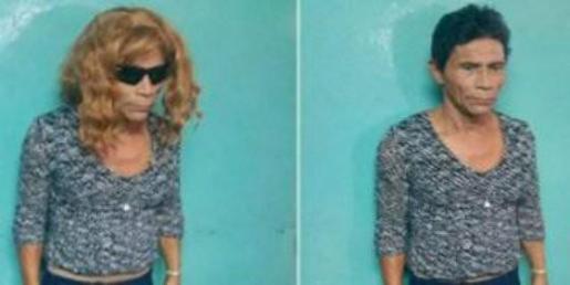 Imágenes del preso sorprendido tratando de fugarse de la cárcel disfrazado de mujer.