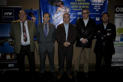 Joan Mas, Miguel Vaquer, Juan Valenzuela, Joan Pericàs y Joaquín Caldentey, en el acto de presentación del Master Ciutat de Palma.