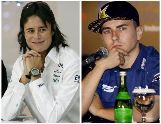 Fotografías de archivo de la montañera Edurne Pasaban, fechada el 07/09/2009, y el piloto Jorge Lorenzo, 14/01/2011, que fueron distinguidos hoy en las principales categorías de los Premios Nacionales del Deporte 2010.
