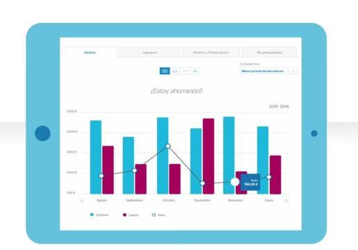 Ordenar los gastos e ingresos por categorías permite controlar los hábitos de consumo. La herramienta de BBVA es muy visual.