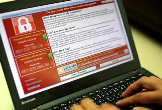 Un ordenador 'infectado' con el 'WannaCry'.
