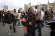 MANIFESTANTES EGIPCIOS ACAMPADOS EN LA PLAZA TAHRIR