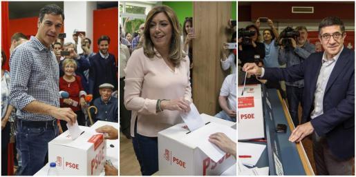 Los tres candidatos a la secretaría general del PSOE, Susana Díaz, Pedro Sánchez (i) y Patxi López, depositan sus respectivos votos en las elecciones primarias.