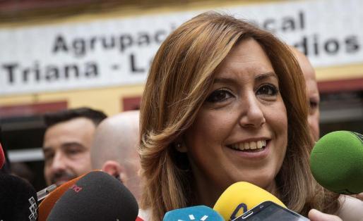 La presidenta andaluza Susana Díaz, tras depositar su voto.