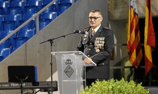 El comisario jefe de la Policía Local de Palma, Josep Palouzié, en la Diada del pasado año.