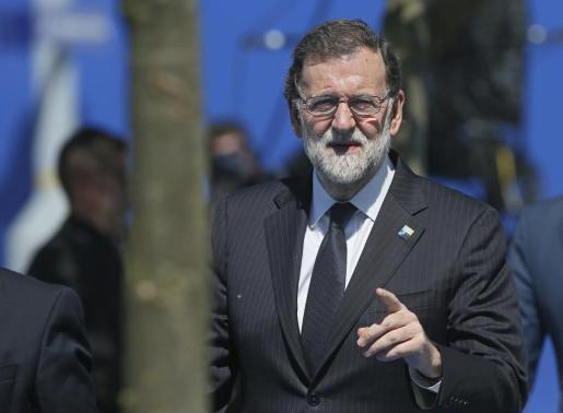 El presidente del Gobierno español, Mariano Rajoy, a su llegada a la sede de la OTAN para asistir a la reunión de líderes de la Alianza que se celebra en Bruselas (Bélgica).