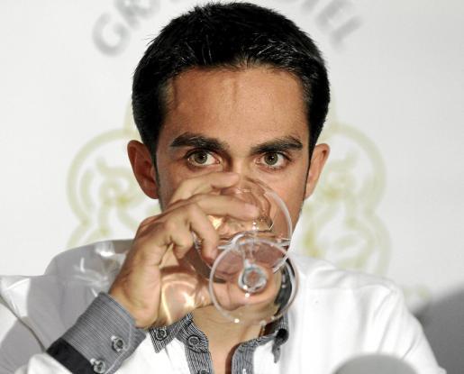 Alberto Contador durante la rueda de prensa ofrecida en Mallorca.