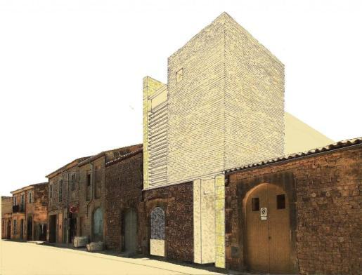 Imagen de la fachada del futuro Centre de Poesia Contemporània, que tendrá la entrada principal en la calle Campos de Santanyí.
