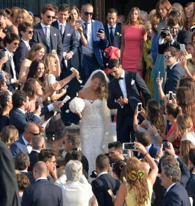 Alvaro Morata y Alice Campello tras la boda.