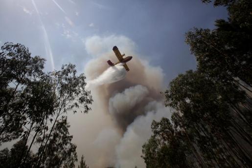Una avión durante las tareas de extinción del incendio.