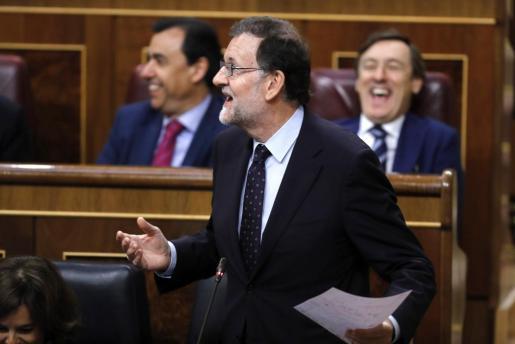 El presidente del Gobierno, Mariano Rajoy, durante su intervención en la sesión de control al Gobierno en el Congreso de los Diputados.