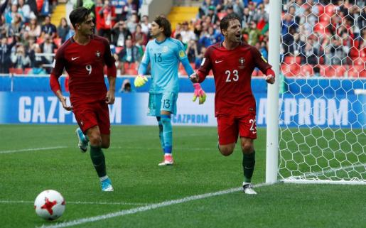 Adrien Silva celebra el gol de la victoria, que le da a su selección el tercer puesto en esta competición.