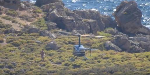 Imagen del helicóptero en S'Illot.