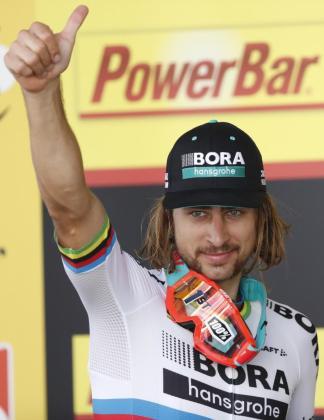 Peter Sagan, celebrando la victoria en la tercera etapa del Tour de Francia 2017