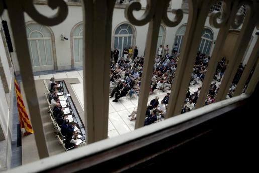 Diputados de JxSí y de la CUP han celebrado en el Auditorio del Parlament de Cataluña un acto público para presentar la futura Ley del Referéndum de Autodeterminación.
