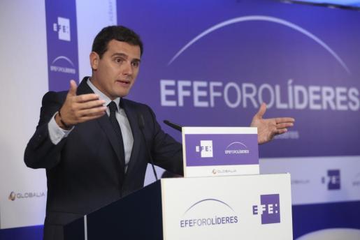 El presidente de Ciudadanos, Albert Rivera, durante su intervención en el EFEForoLíderes.