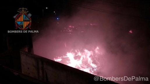 El fuego se originó a las 00.30 horas en un solar del Camí Roig.