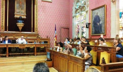Imagen del pleno de hoy dentro del Consell