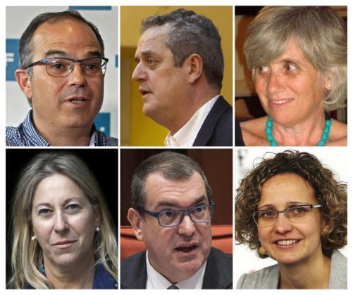 Fotografías de archivo de los conselleros nuevos y salientes del Govern catalán: Jordi Turull (arriba-i), asume la consejería de Presidencia de la Generalitat en sustitución de Neus Munté (abajo-i), Joaquim Forn (arriba-c) asume la cosejería de Interior en sustitución de Jordi Jané (abajo-c); y Clara Ponsatí (arriba-d) ocupará el cargo de Meritxell Ruiz (abajo-d) en Enseñanza.