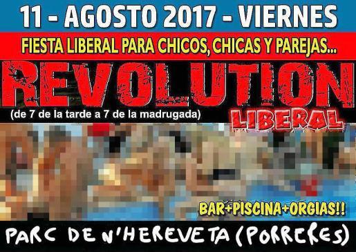 El cartel original es de una fiesta en el jardín de las delicias, en Benavente (Zamora).
