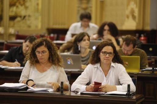 La consellera Catalina Cladera junto a Pilar Costa en un pleno.