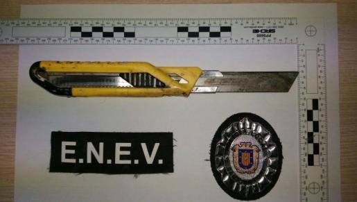 Imagen del cutter incautado por la Policía Local de Sant Antoni.