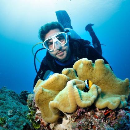 El cantante David Bisbal durante una sesión de submarinismo.