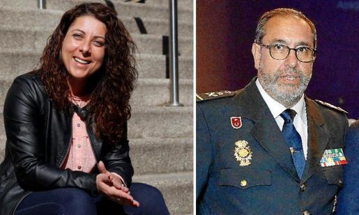 El jefe del CNP de Balears, Antonio Jarabo y la regidora de Seguretat, Angélica Pastor.