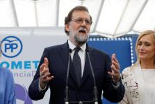 Spain's Prime Minister Mariano Rajoy speaks at a People's Party (PP) event on violence against women after testifying in the Gur