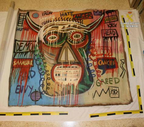 El cuadro de Basquiat recuperado por la Policía Judicial de la Guardia Civil de Pollença.