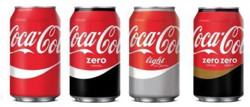 Imagen de diferentes sabores de la bebida gaseosa Coca Cola