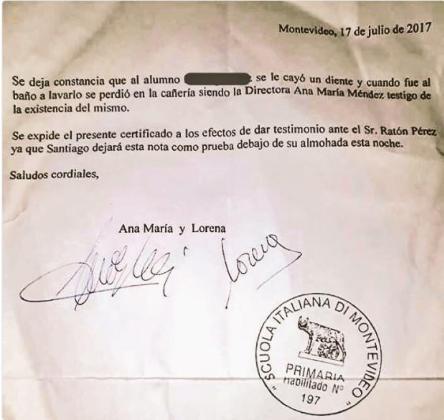 Imagen de la carta certificada en la que la directora del centro hace constar al Ratón Pérez que es testigo de los hechos.