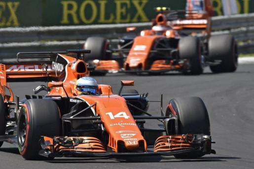 El piloto español de McLaren, Fernando Alonso, durante el Gran Premio de Hungría de Fórmula 1.