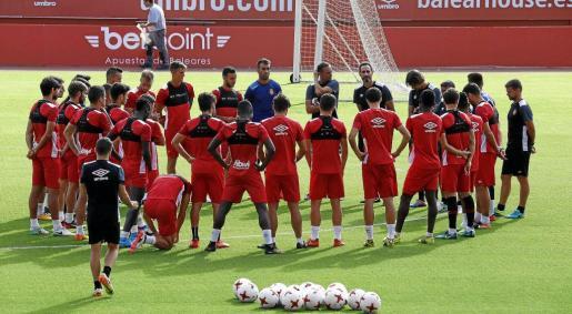 Preparados. Vicente Moreno se dirige a los futbolistas del Mallorca sobre la hierba del estadio de Son Moix.