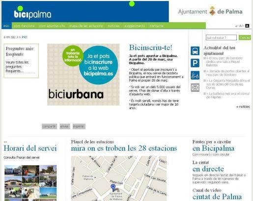 En www.bicipalma.es se encuentra la información sobre este nuevo servicio de Cort.