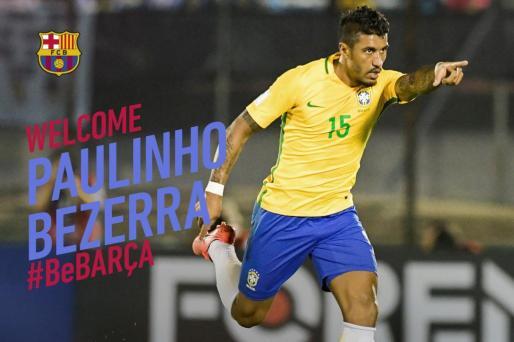 Con esta imagen ha hecho oficial el club catalán el fichaje del internacional brasileño.