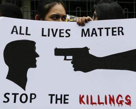 Imagen de una protesta contraria a la política antidroga del dirigente filipino, que se ha cobrado ya miles de vidas.