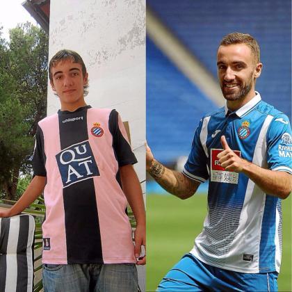 Diez años después... A la izquierda, Sergi, con 13 años, cuando fichó por el Espanyol cadete. A la derecha, en su presentación como jugador del primer equipo.