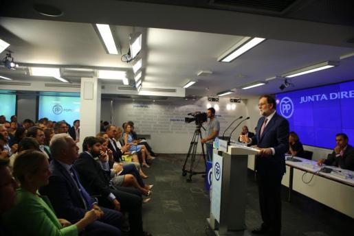 Mariano Rajoy, en su intervención en la reunión de la Junta Directiva Nacional del PP.