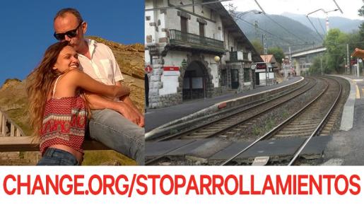 Irune y su padre Gonzalo junto a la estación de Álava donde la joven fue arrollada por un tren de mercancías.