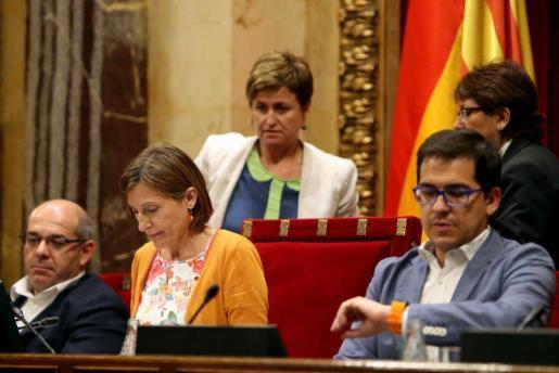 La presidenta del Parlament, Carme Forcadell durante la sesión en la que se ha aprobado la Ley de Transitoriedad.