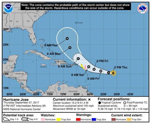 Imagen divulgada por el Centro Nacional de Huracanes (NHC) de Estados Unidos que muestra el pronóstico de 3 días sobre la posible trayectoria de José que ganó intensidad al subir a categoría 2 en su camino hacia las Antillas Menores con vientos máximos sostenidos de 105 millas por hora (165 km/h), informó el Centro Nacional de Huracanes.