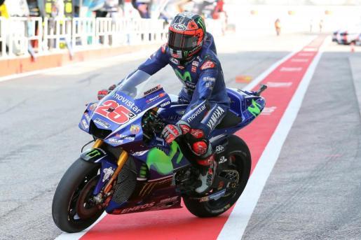 El español Maverick Viñales, durante la sesión de clasificación del Gran Premio de San Marino de MotoGP.