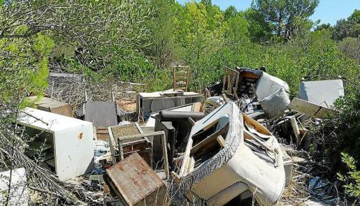 Muebles, madera y porcelana rota es abandonada en medio del campo.