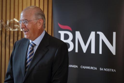 El presidente de BMN, Carlos Egea Krauel, al inicio de la Junta Extraordinaria de Acciones que se ha celebrado para aprobar la fusión con Bankia.
