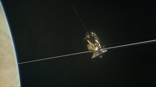 Fotografía de archivo sin fecha cedida por la NASA, muestra una ilustración de la nave espacial Cassini de la NASA durante su zambullida final en la atmósfera de Saturno.