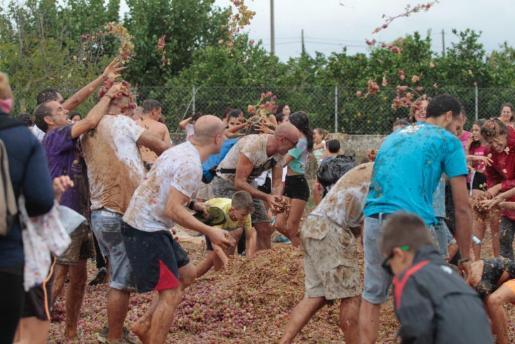 Para la batalla se utilizaron unas quince toneladas de uva.