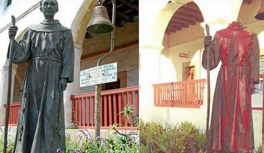 Dos imágenes de la estatua de Juníper Serra, antes y después de sufrir el acto vandálico.